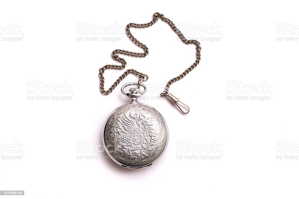 Vintage silver pendant isolated on white background. stock photo
