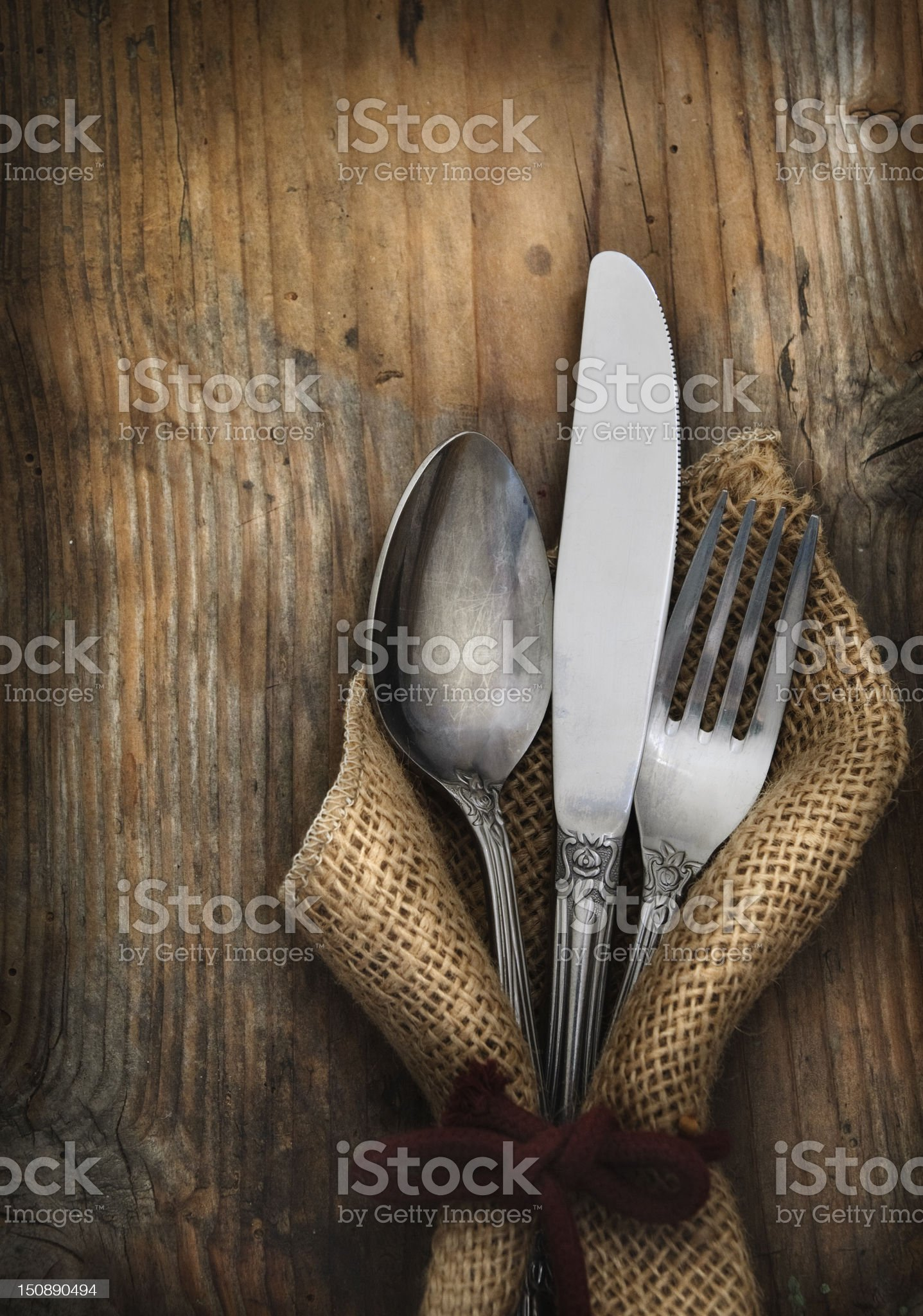 Vintage silverware royalty-free stock photo