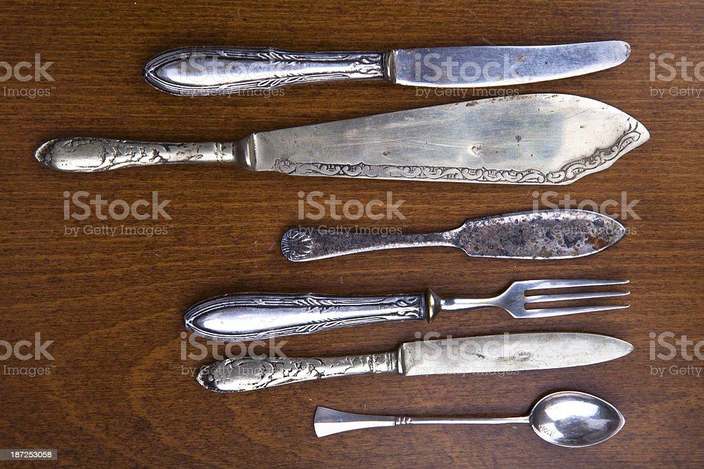 Vintage silverware royalty-free stock photo