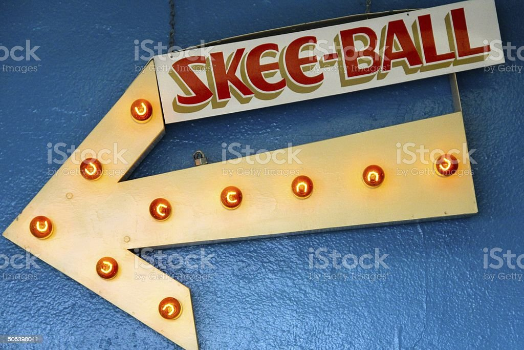 Vintage Skee-Ball Sign stock photo