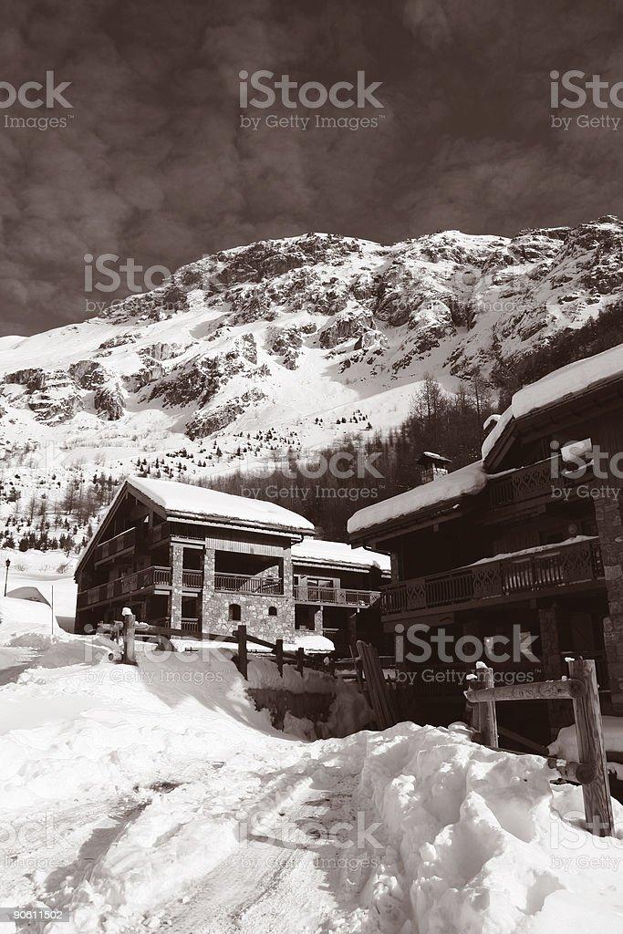 Vintage Ski Chalet stock photo