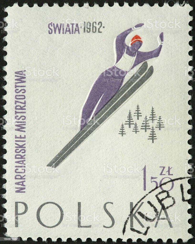 vintage ski jumper on a Polish postage stamp royalty-free stock photo