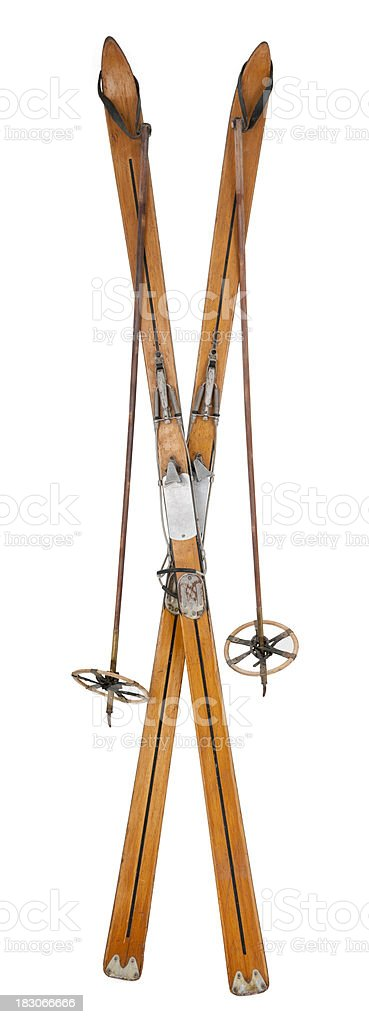 Vintage Skis & Poles - Crossed stock photo