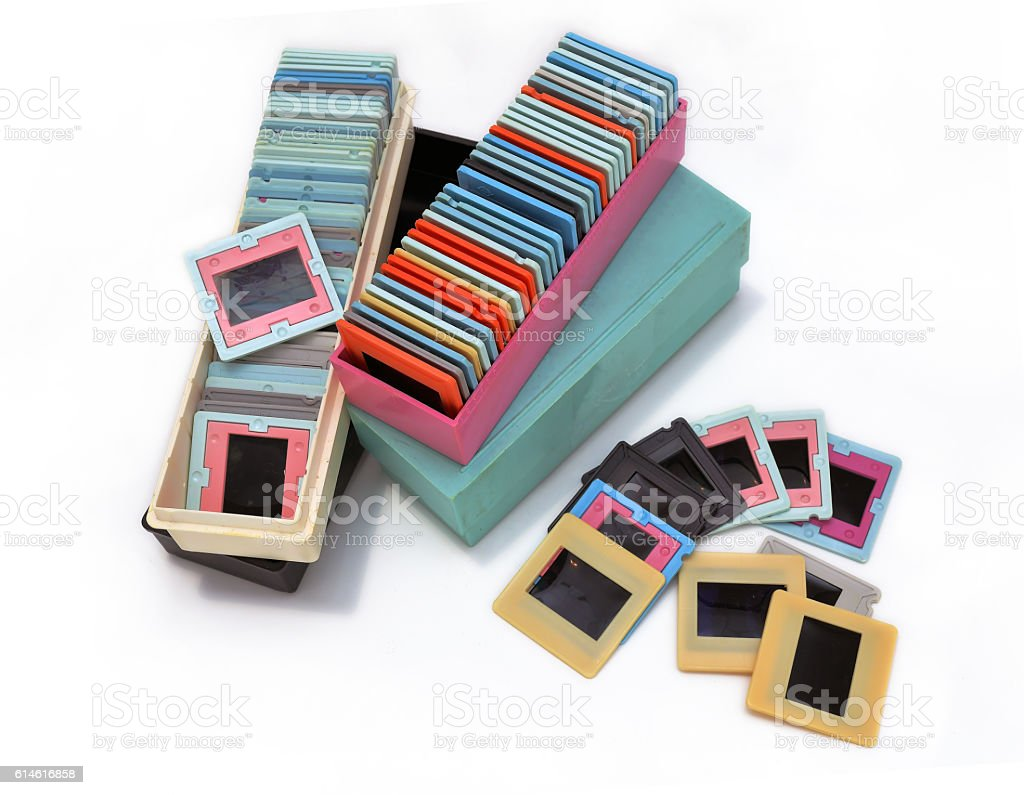 Vintage slade frames in boxes on white background stock photo