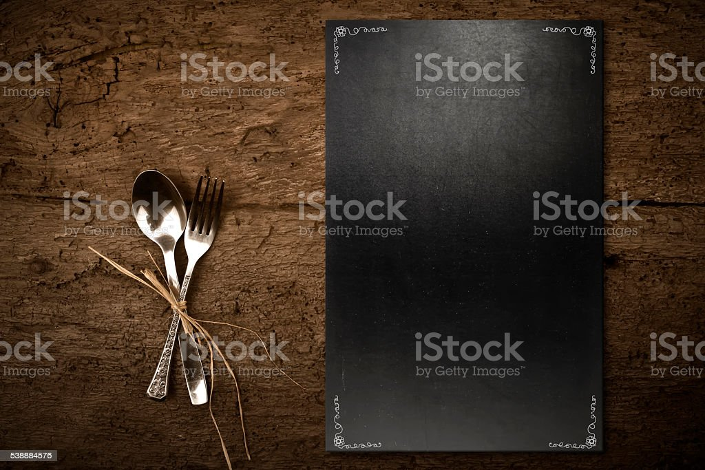 Vintage slate chalkboard template menu stock photo