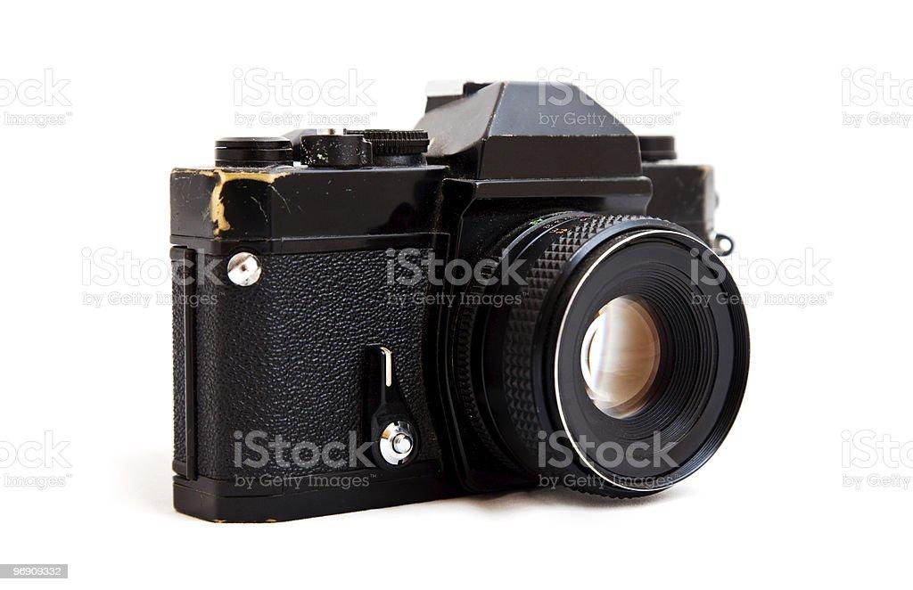 Vintage SLR camera isolated on white stock photo