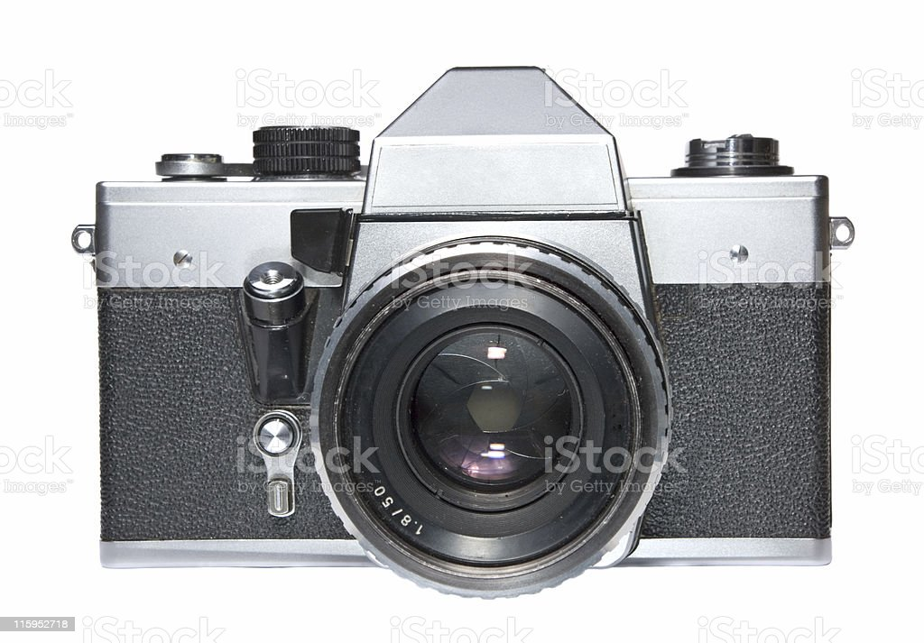 Vintage SLR film camera isolated on white stock photo