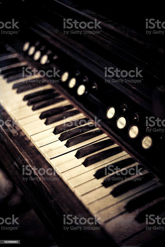 vintage small piano organ stock photo