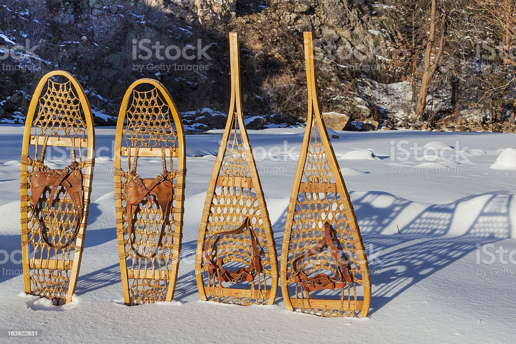 vintage snowshoes royalty-free stock photo