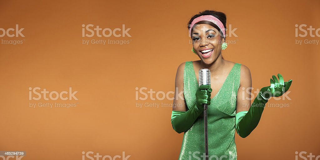 Vintage soul jazz woman singing. Black african american. Copy space. stock photo