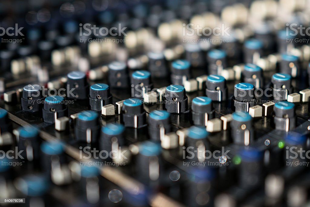Vintage sound or audio mixer in a recording studio stock photo