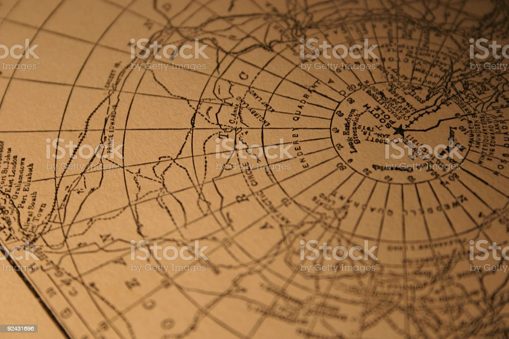 vintage South Pole map stock photo
