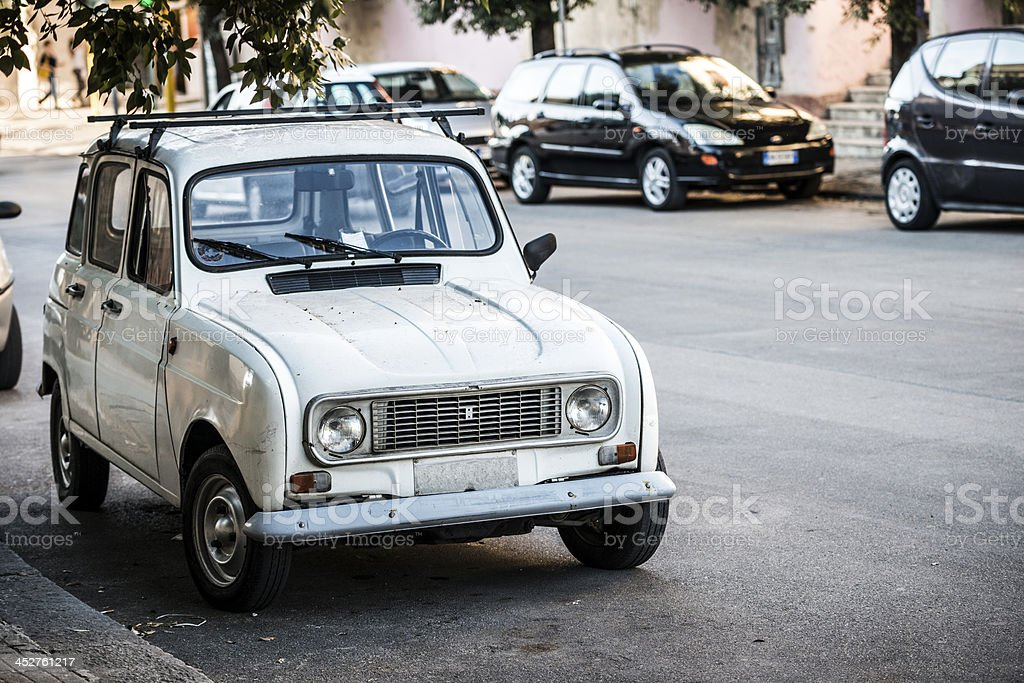 Vintage Southern Italy Village with car (Apulia region) stock photo