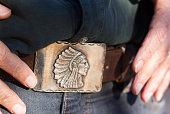 Vintage Southwest Silver Belt Buckle, Man's Hands (Close-Up)