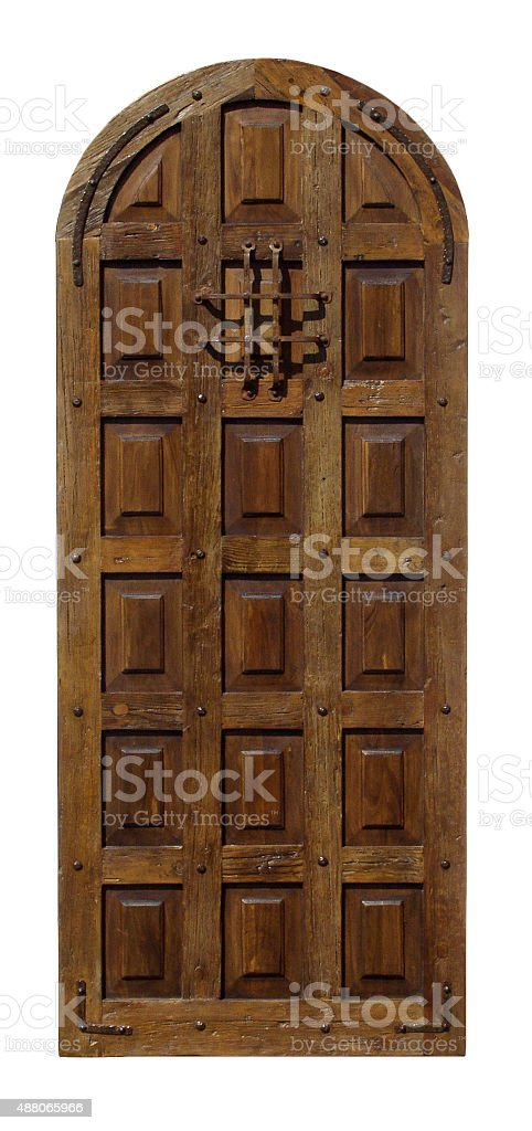 Vintage Spanish wooden door w peep hole stock photo