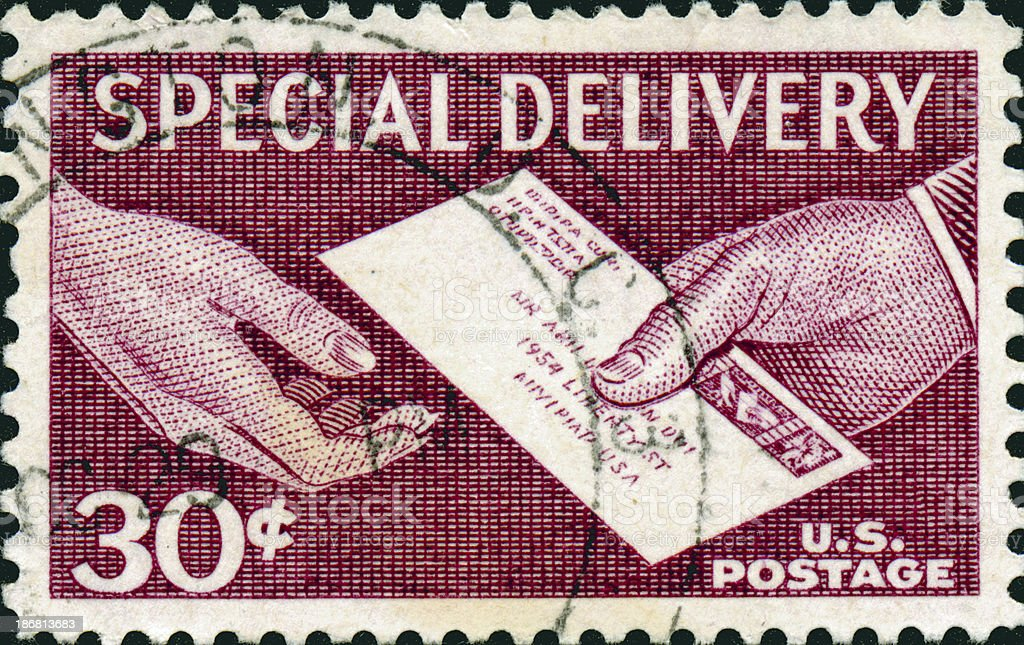 Vintage Special Delivery Stamp royalty-free stock photo