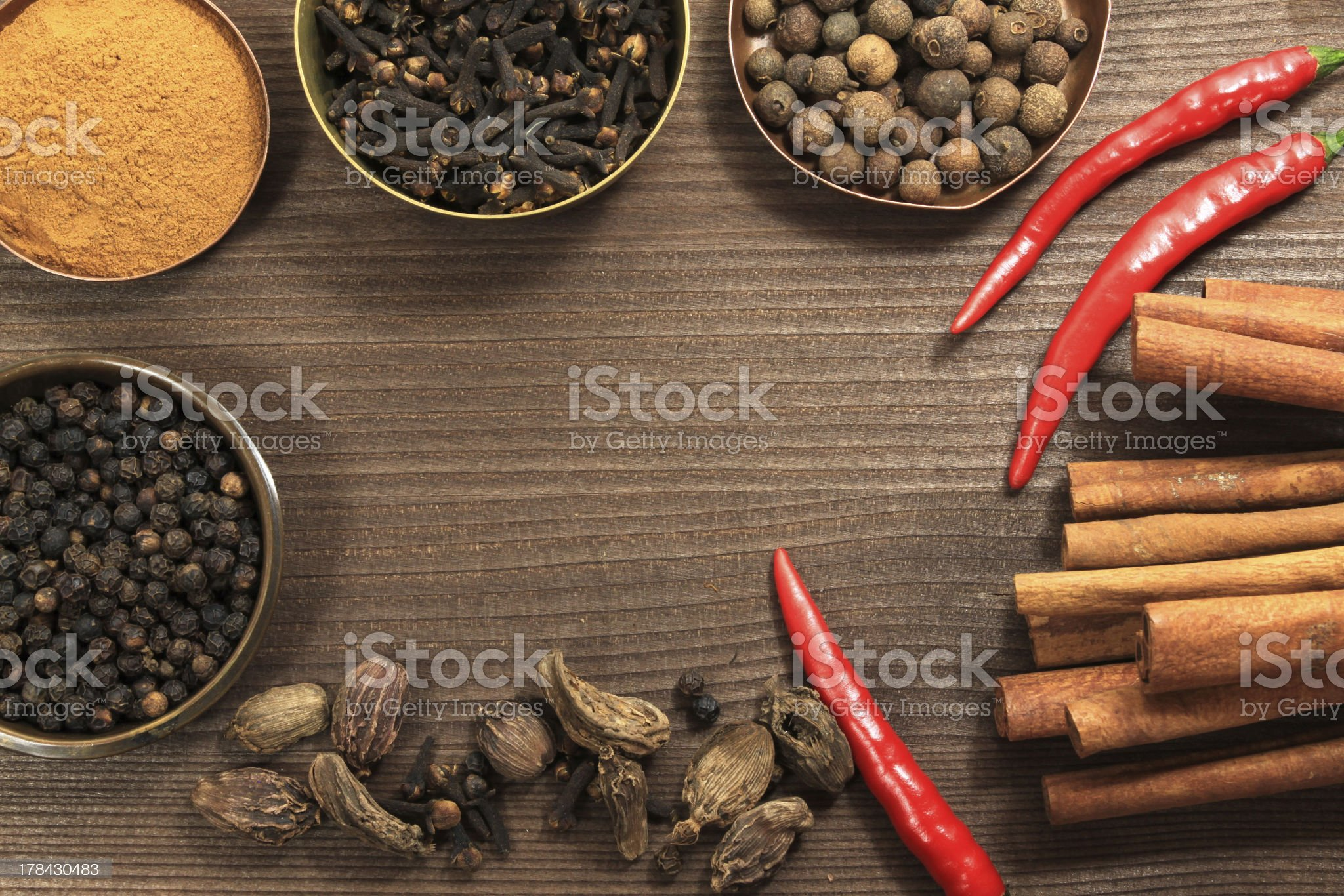 Vintage spices frame royalty-free stock photo