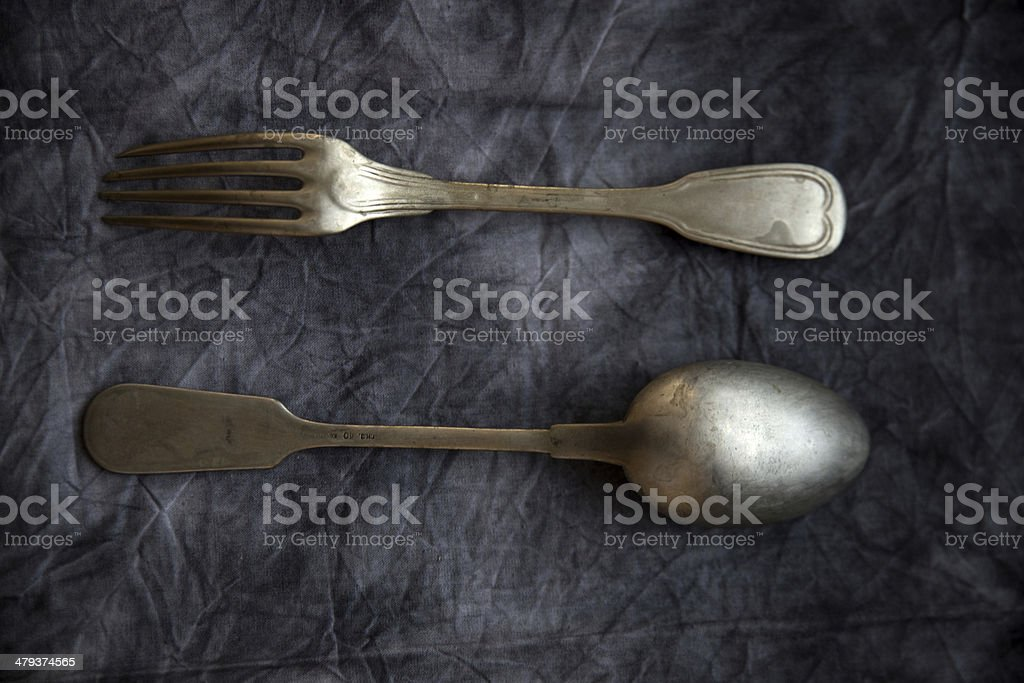 Vintage Spoon And Fork royalty-free stock photo