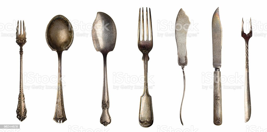 Vintage spoons, forks and knifes royalty-free stock photo