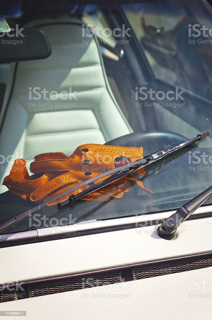 Vintage sport car and gloves stock photo
