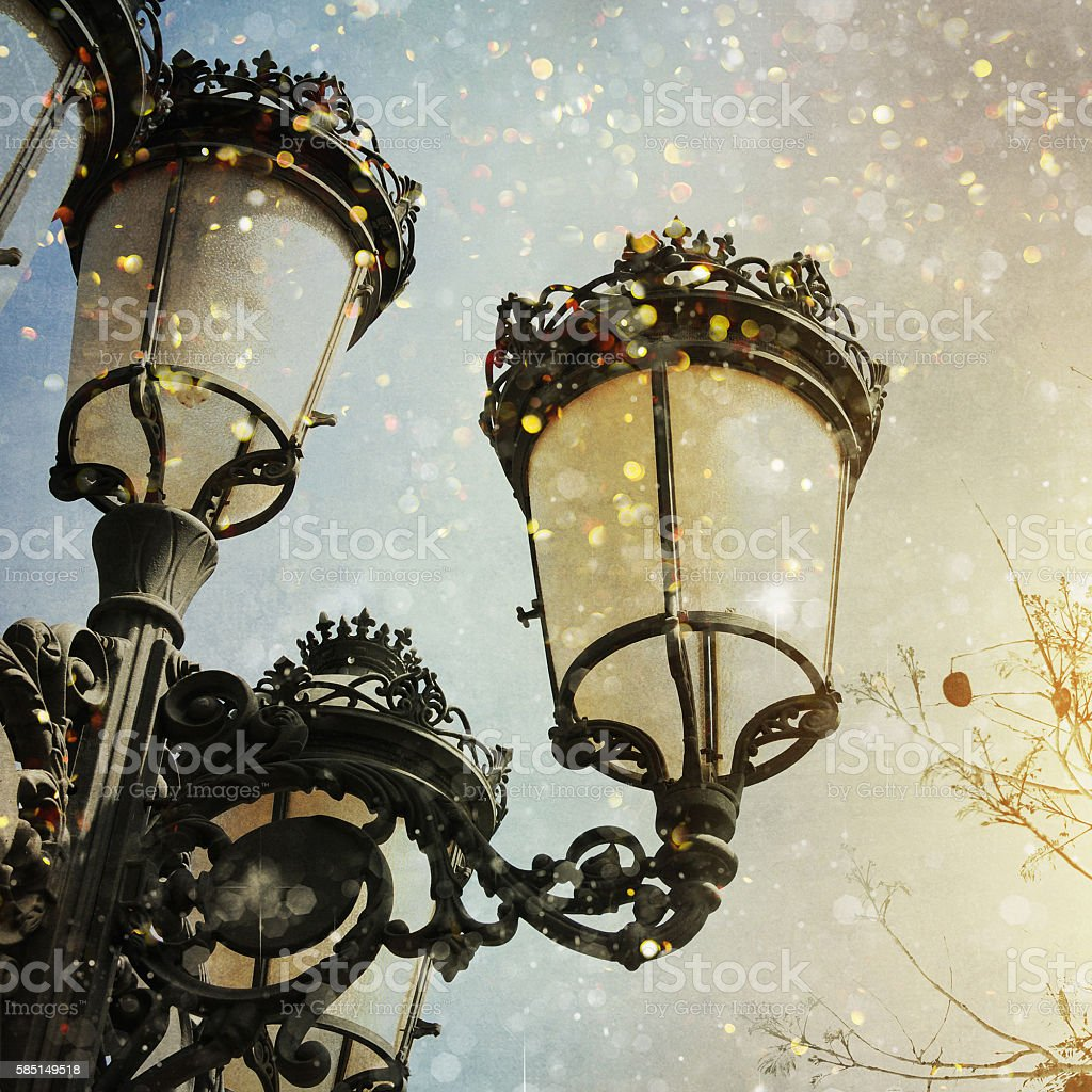 vintage springy streetlight stock photo
