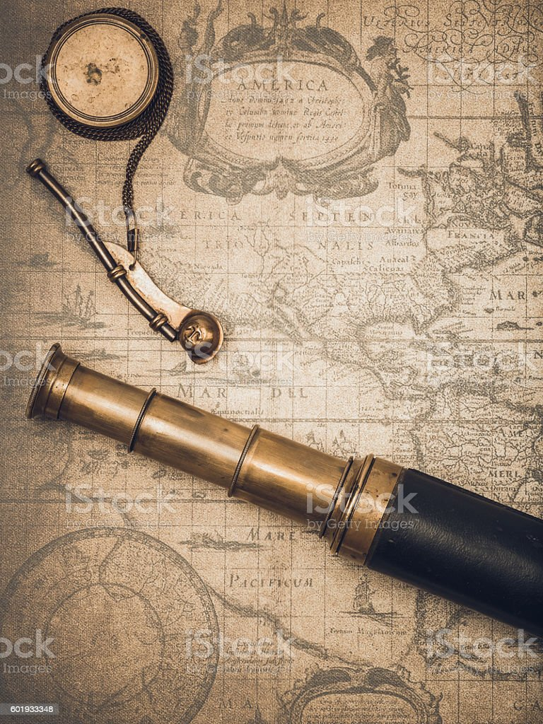 Vintage spyglass and whistle of the boatswain. stock photo