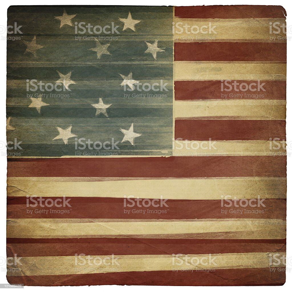 Vintage square shaped old american patriotic background. Isolated on white. royalty-free stock photo