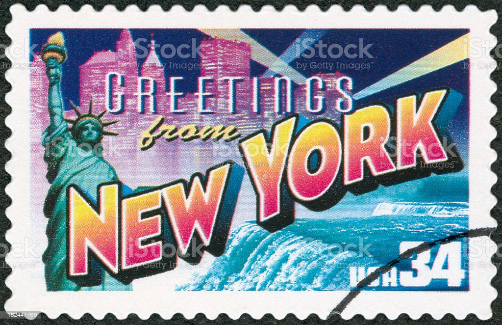 Vintage stamp of New York City stock photo