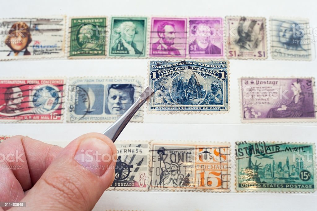 vintage stamps from USA stock photo