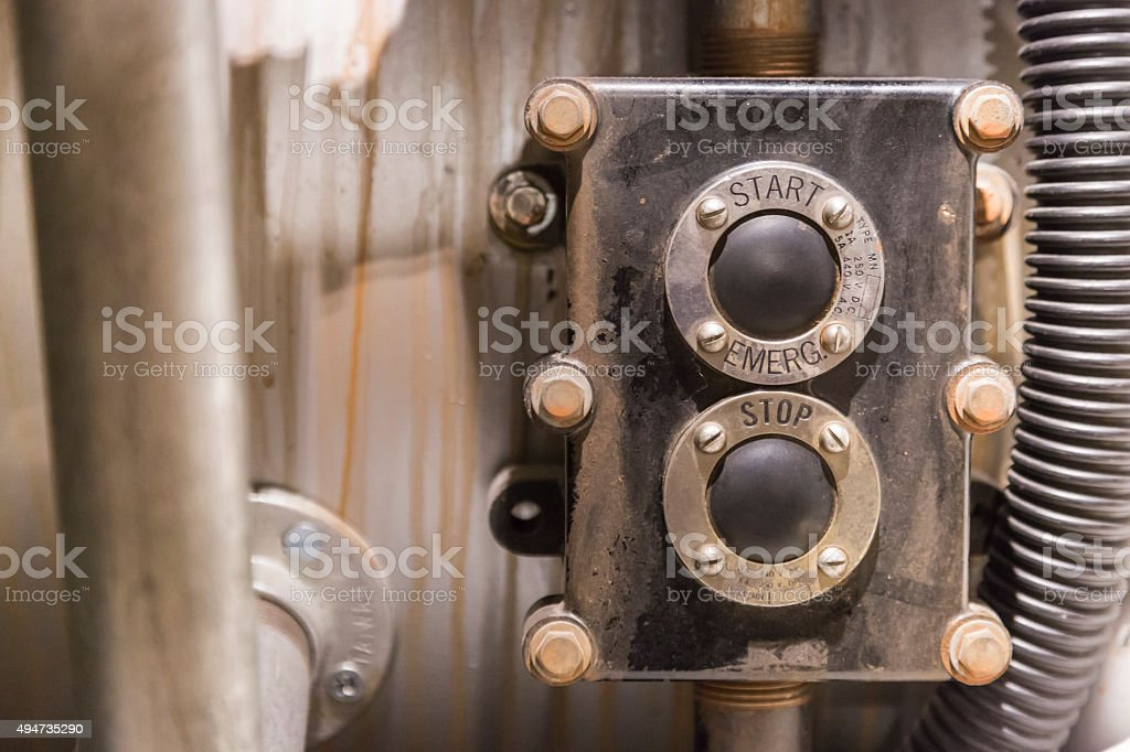 Vintage Start and Stop Power Buttons stock photo