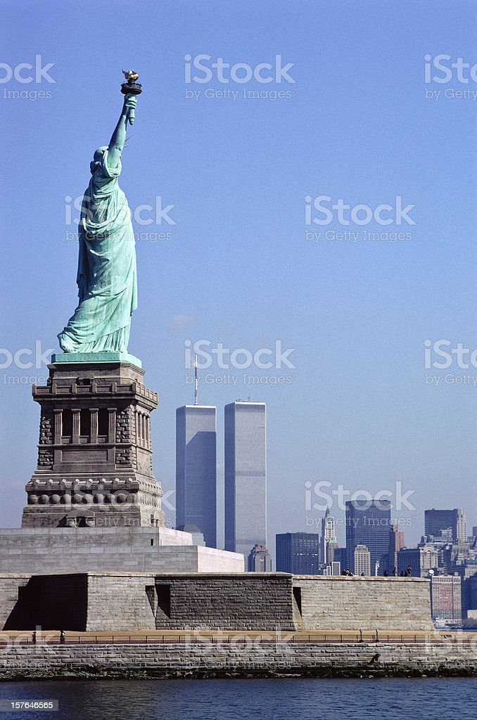 Vintage Statue of Liberty and World Trade Centre stock photo