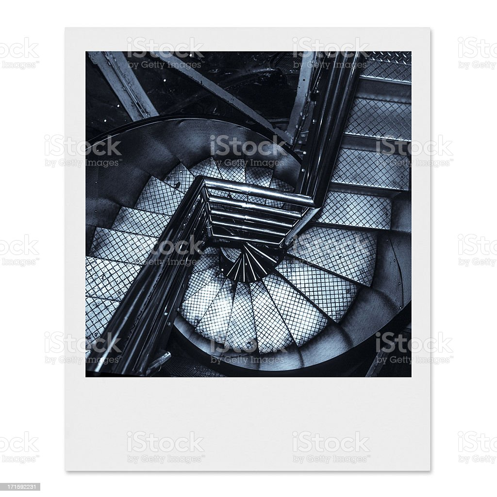 Vintage Statue of Liberty spiral staircase stock photo