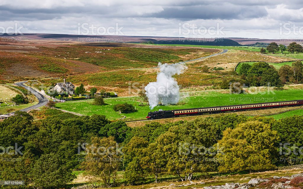 Vintage steam train, Goathland, Yorkshire, UK. stock photo