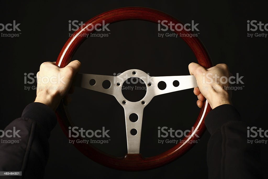 Vintage steering wheel stock photo
