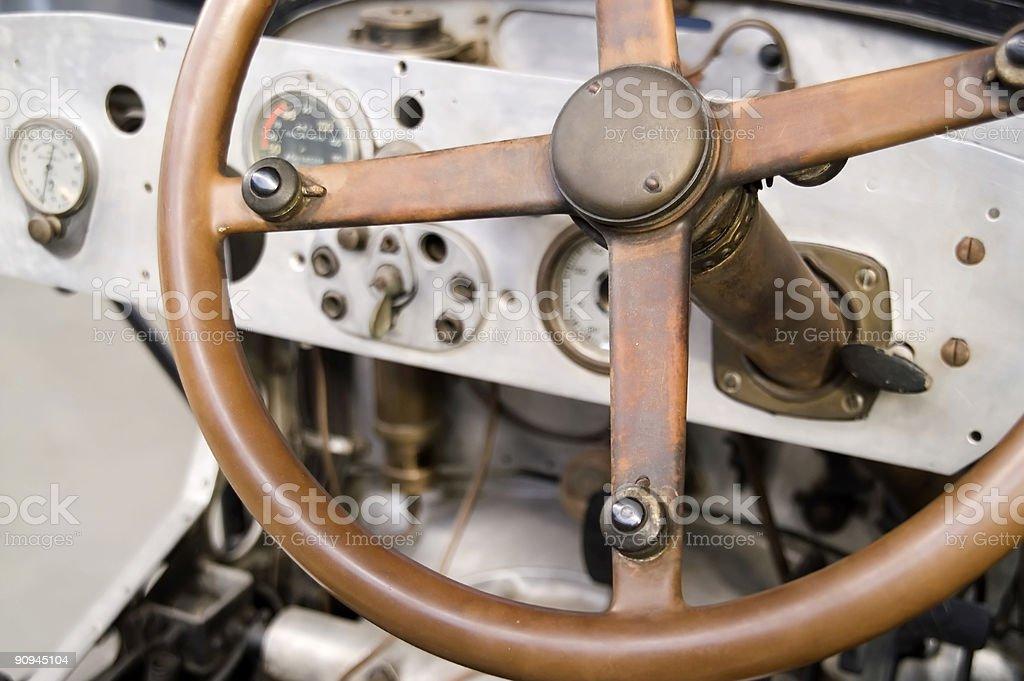 vintage steering wheel stock photo