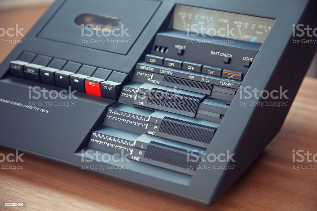 Vintage stereo compact cassette tape deck player stock photo