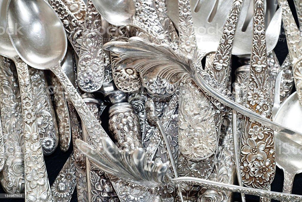 Vintage Sterling Silverware - Kitchen Utensils - Cutlery royalty-free stock photo