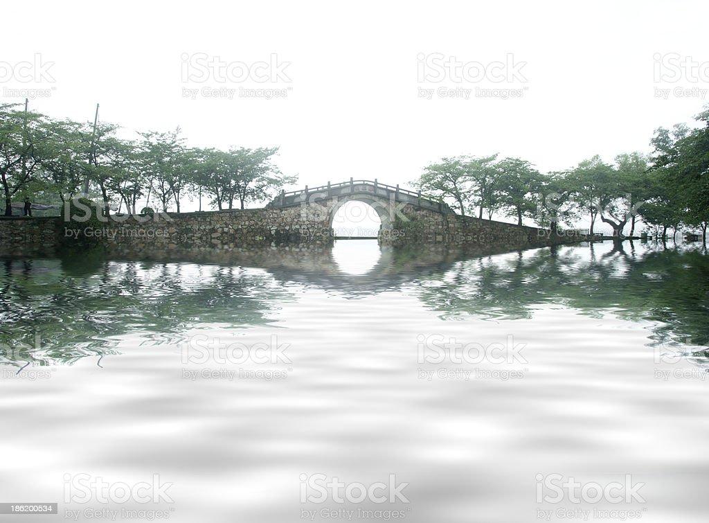 vintage stone bridge in China royalty-free stock photo