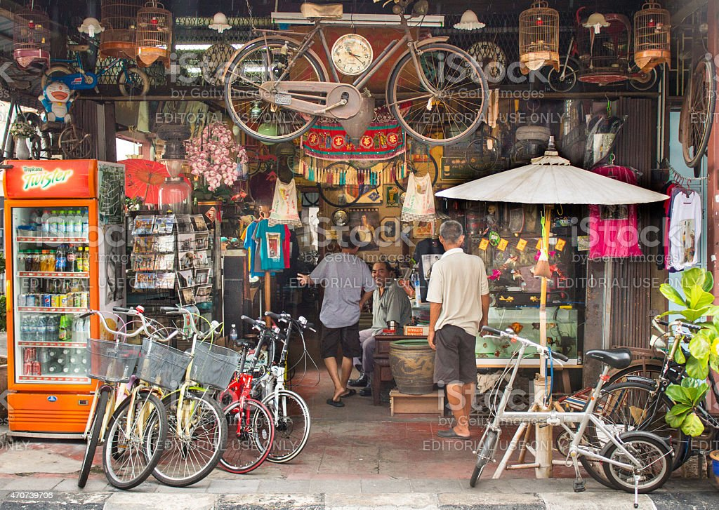 Vintage store with bicycles in George Town stock photo