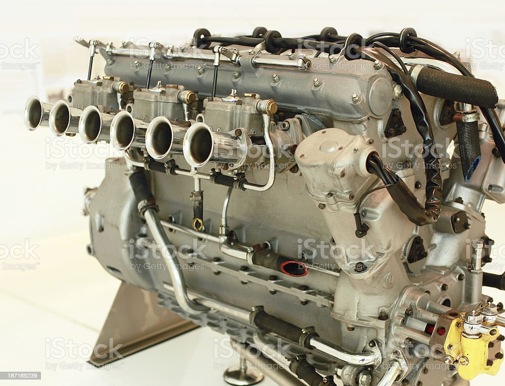 vintage straight-six racing engine royalty-free stock photo