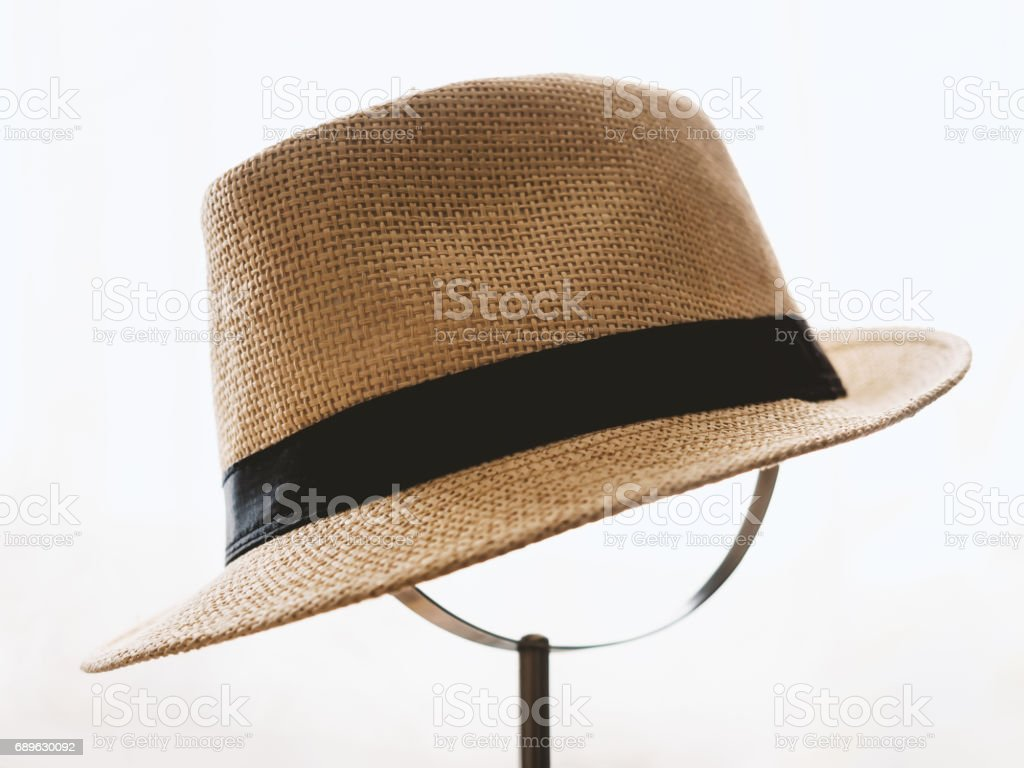 Vintage straw hat stock photo