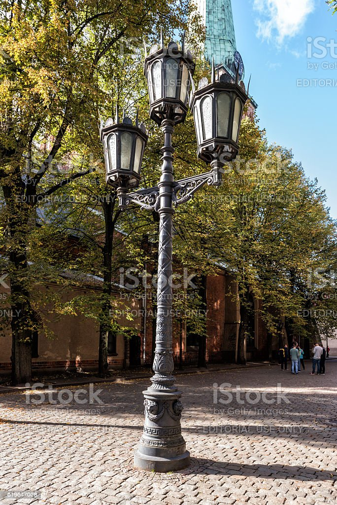 Vintage streetlight at street of old town in Riga, Latvia stock photo