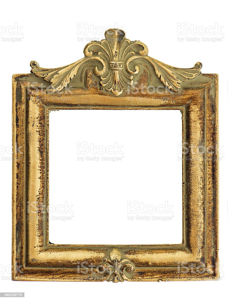 vintage style antique golden frame isolated on white stock photo