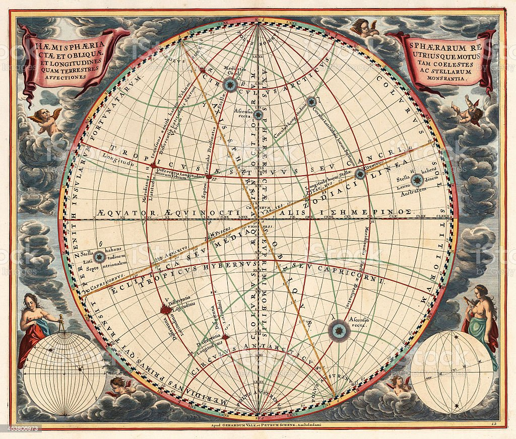 Vintage style astronomical chart in color stock photo