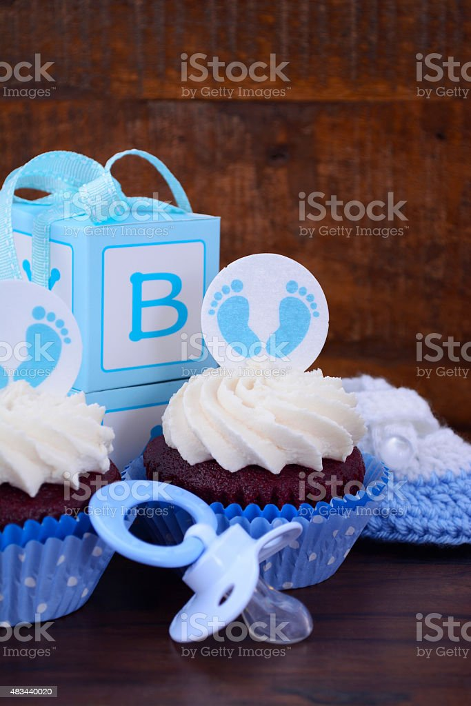 Vintage Style Baby Shower Cupcake and Gift Box stock photo