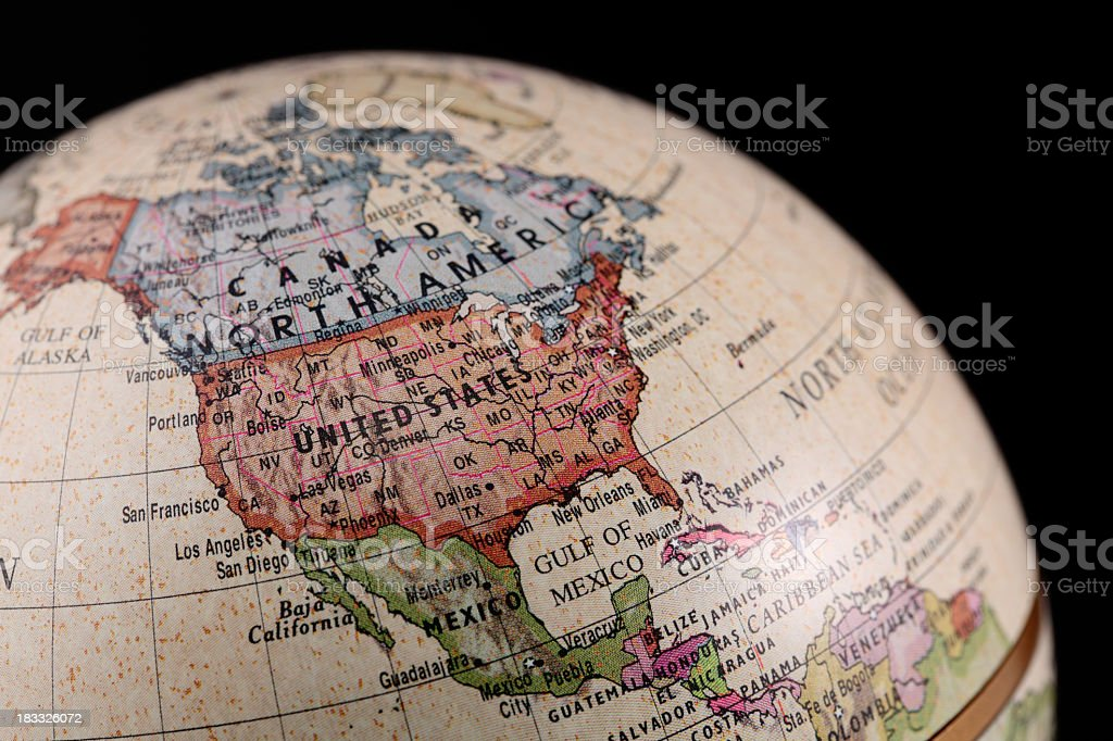 Vintage style globe showing North America stock photo