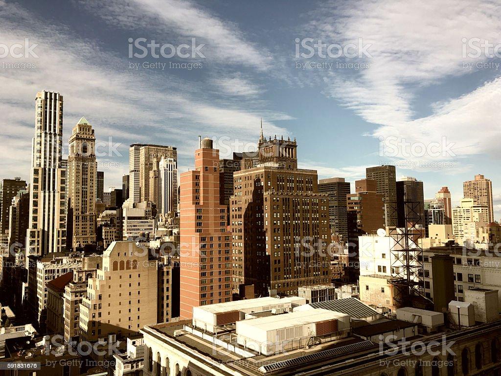 Vintage style Image of New York City Skyline stock photo