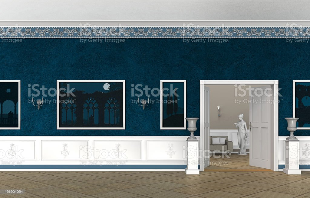 vintage style interior of a villa, castle, museum or gallery stock photo