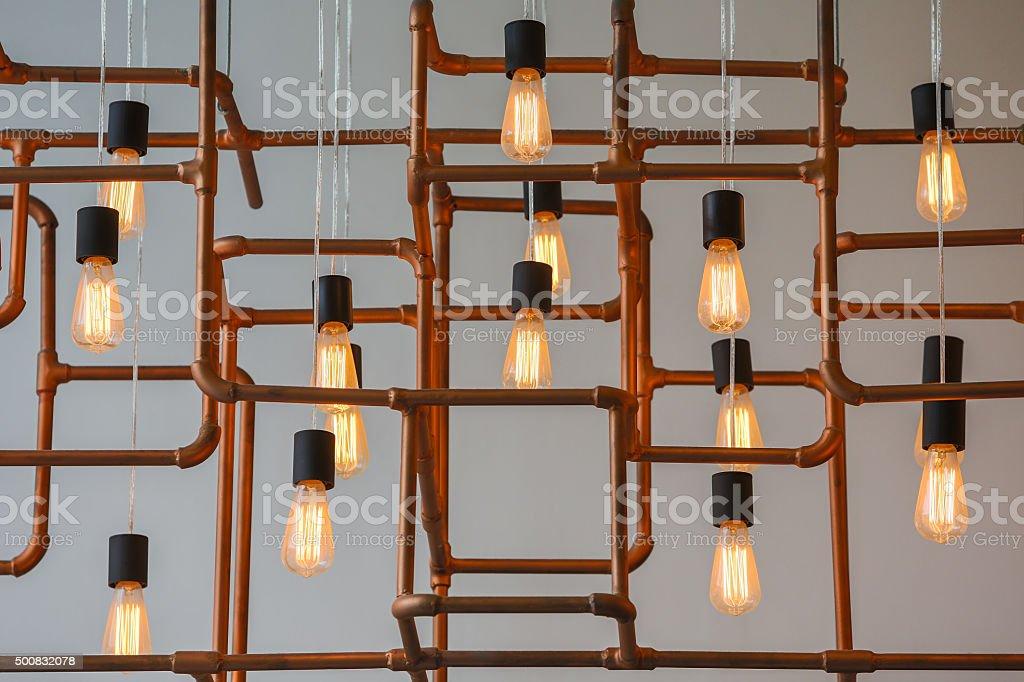 Vintage style light bulbs stock photo