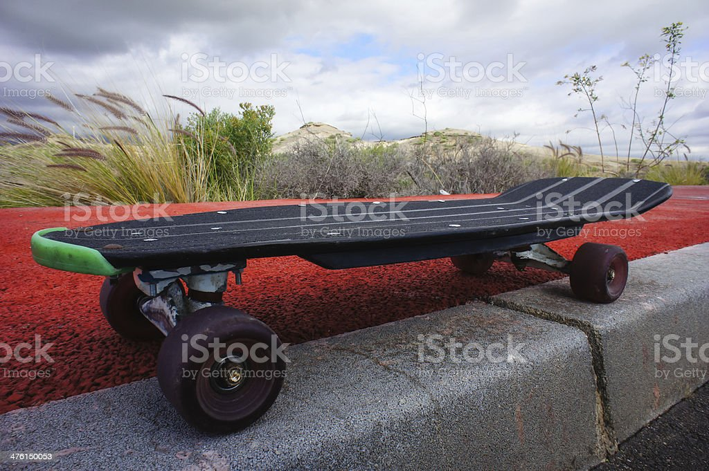 Vintage Style Longboard Black Skateboard royalty-free stock photo